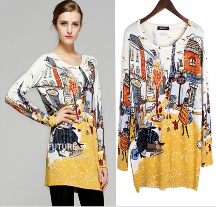 Fall 2015 Women Sweater Knit Shirt Paris Women's Long Section ...