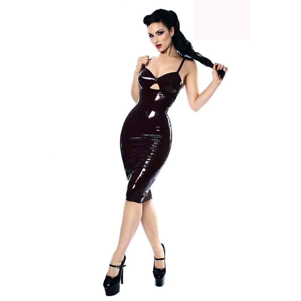 Best Women Black High Waist Bodycon Pu Faux Leather Wet Look Midi ...
