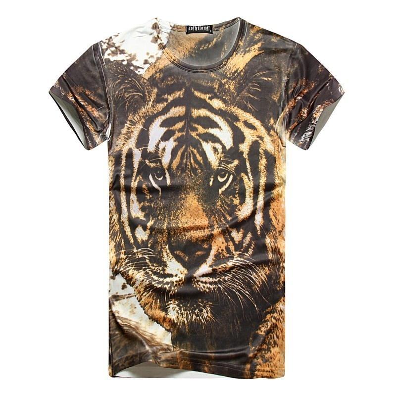 3D Power Tiger Print Man Men T-shirt Punk Printed Tshirt Men's ...