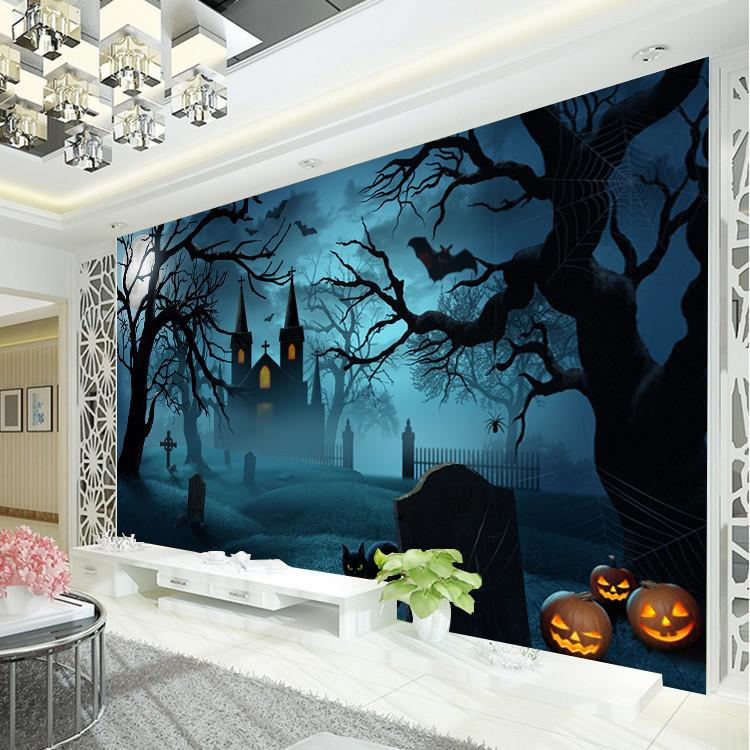 Halloween horror photo wallpaper pumpkin lamp wallpaper for Custom mural wallpaper