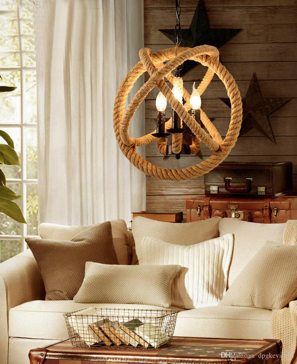 Rope Global Shape Pendant lights Hanging Light Lamp Chandelier Vintage American country style Industrial Handmade E14 Pendant Lamp