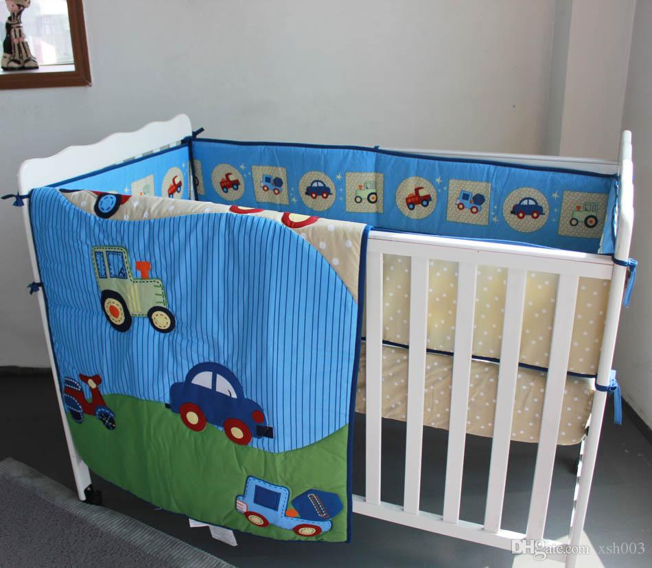 Wholesale 2016 Baby bedding set Embroidery blue car traffic tool Crib bedding set cotton Cot bedding set Boy Quilt Bumper Fitted Sheet