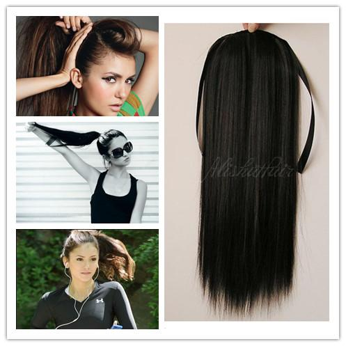 100 Natural Ponytail Extensions Remy Hair Straight Weave Bundles