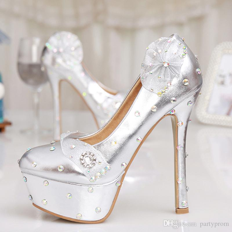 Silver Bridesmaid Shoes Ultra High Heel Rhinestone Wedding Shoes Floral Banquet Women Platforms Birthday Prom Party Shoes