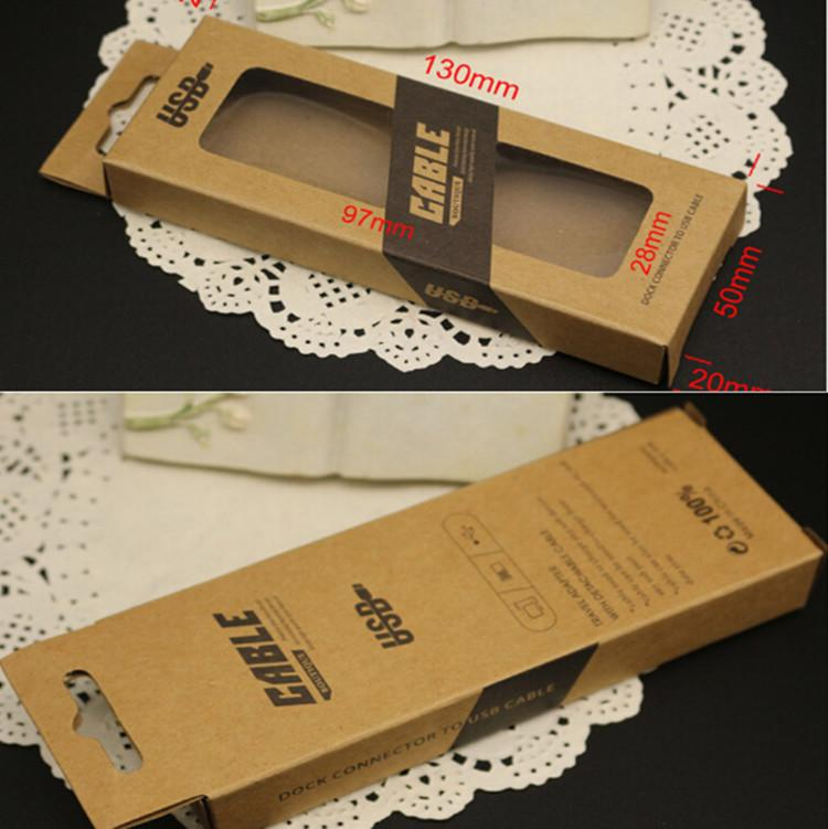 Universal retail boxes for USB Charger adapter cable wire date line Brown Retro Kraft paper retail package box for samsung iphone 6 6s hot