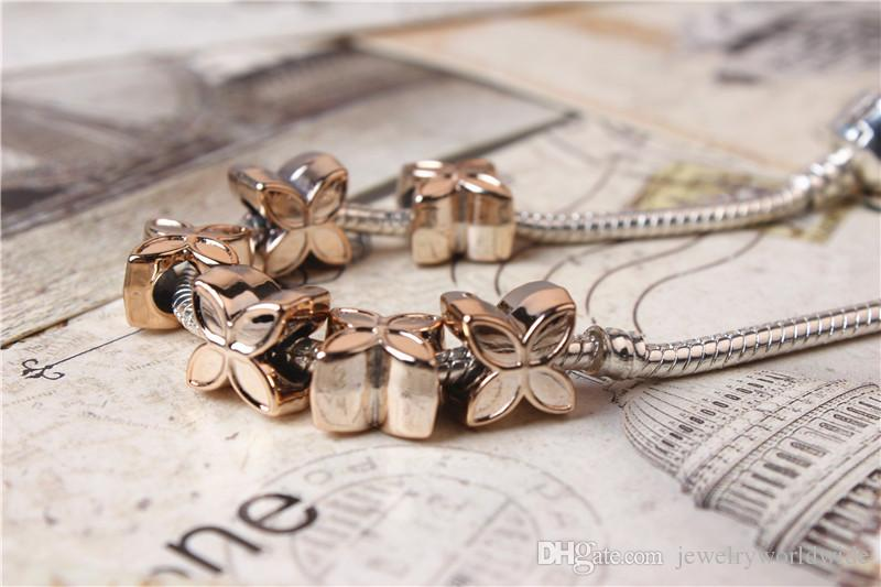 Alloy Charm Bead Lucky Clover Gold Plated Fashion Women Jewelry Stunning Design European Style For Pandora Bracelet Necklace