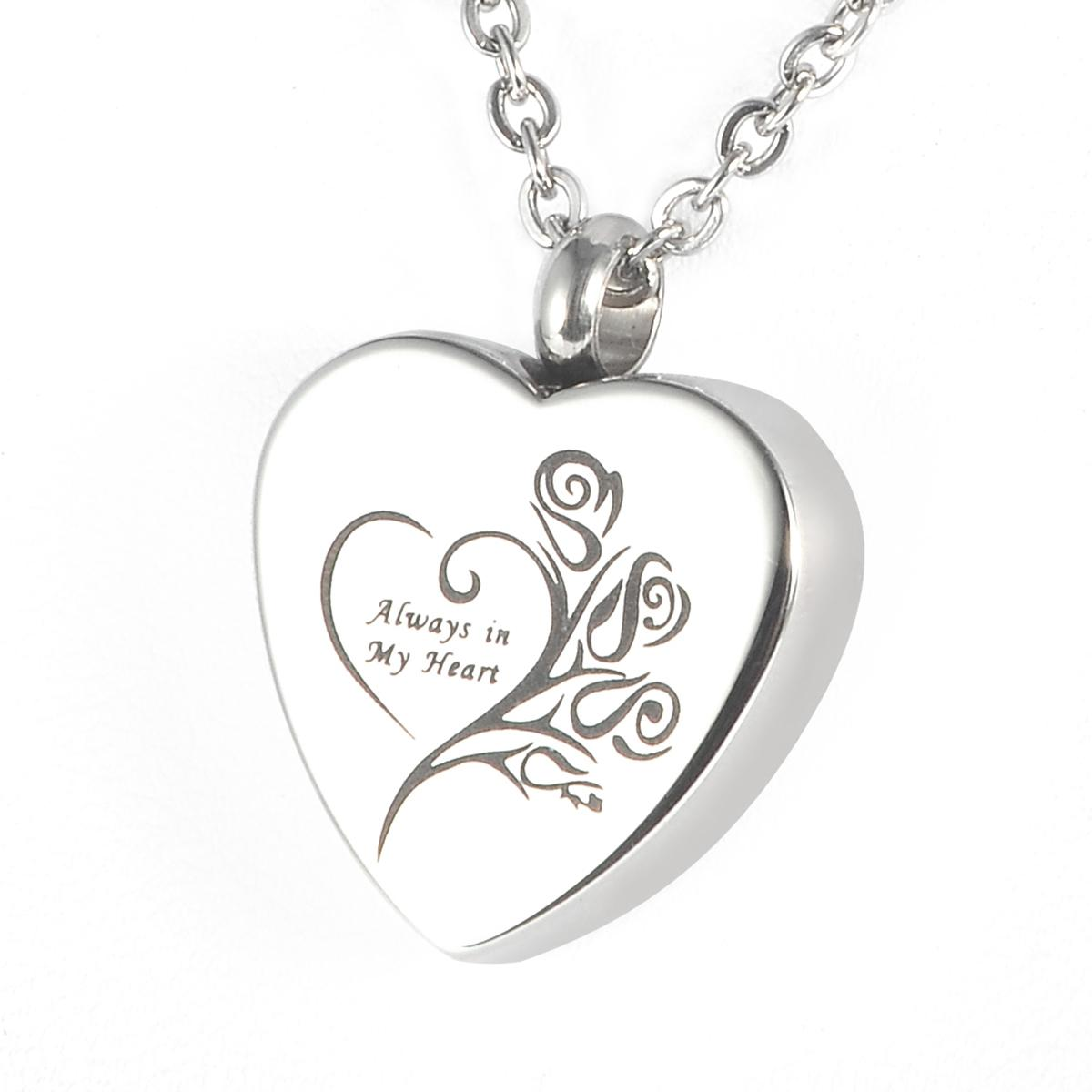 Cremation Jewelry Rose Always In My Heart Waterproof Ash Memorial Urn  Necklace Stainless Steel with gift bag and chain