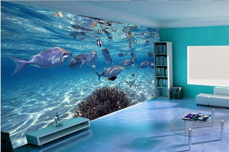 custom photo wallpaper 3d stereoscopic underwater world of marine fish living children 39 s room tv. Black Bedroom Furniture Sets. Home Design Ideas