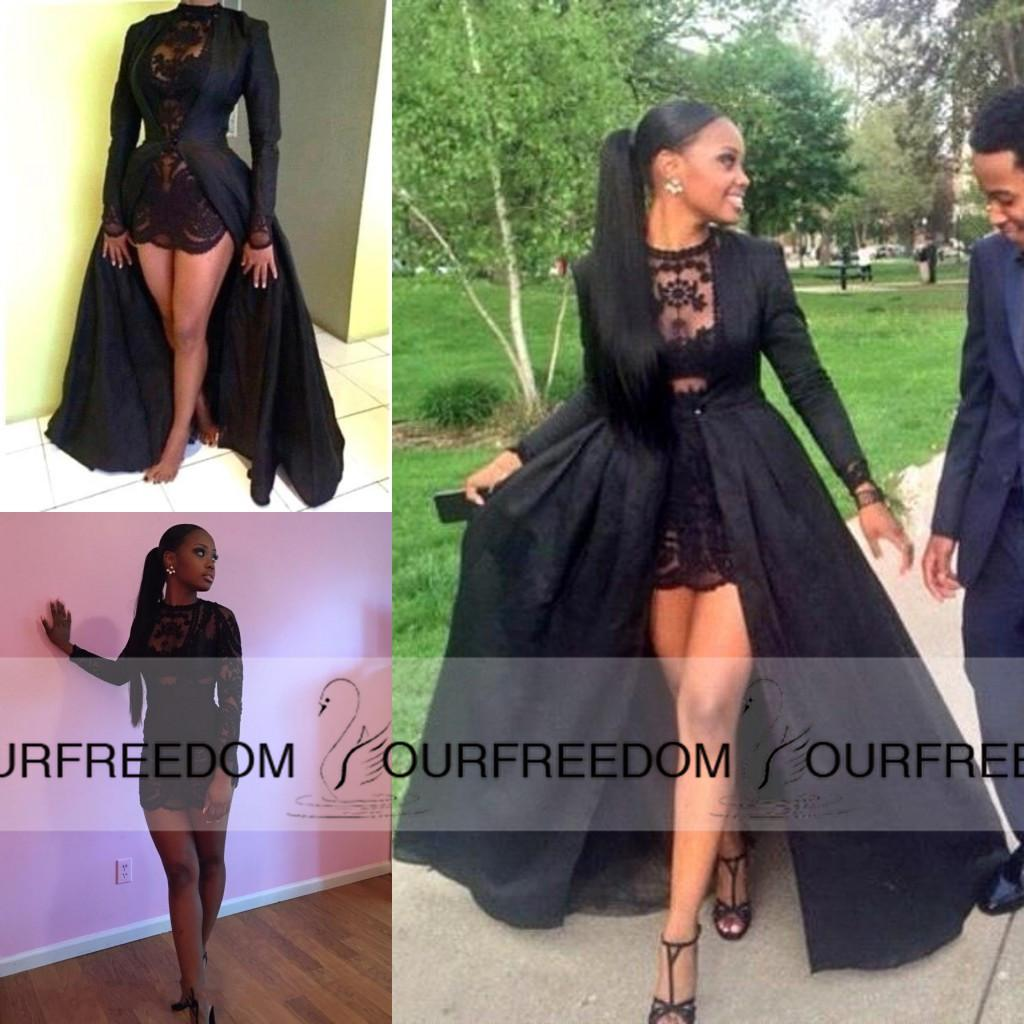 Carnaval 2016 Sexy Two Piece Short Prom Dresses See Through Black ...