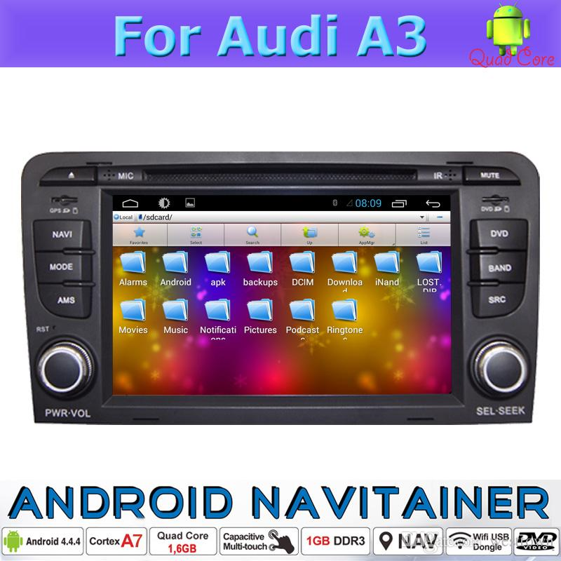 2 Din Gps Navigator Navigation for Audi A3 Car Dvd Players Bluetooth Stereo  TV Wifi 3G Usb Android Quad Core