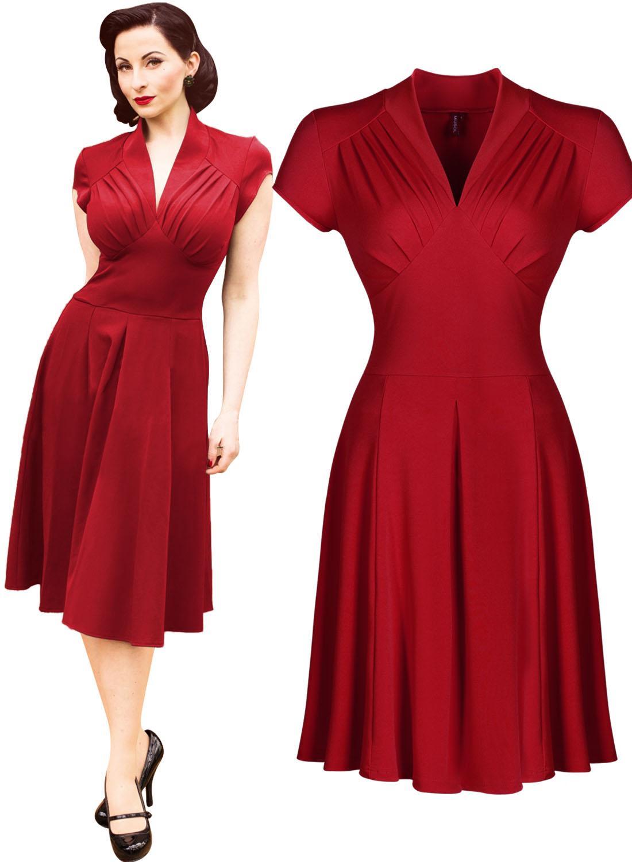 1c757abc4 Las mujeres libres del envío del estilo de la vendimia Retro 1940 s  camisero vestido de té de la tarde de la llamarada del oscilación de los  patinadores ...