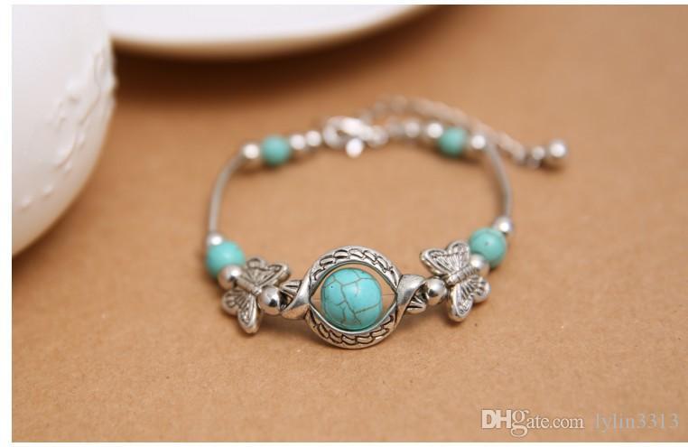 Neue Tibet Silber Farbe Türkis Armbänder Armreifen Inlay Schmetterling Bead Nation Bohemian Einstellbare Für Frauen Modeschmuck