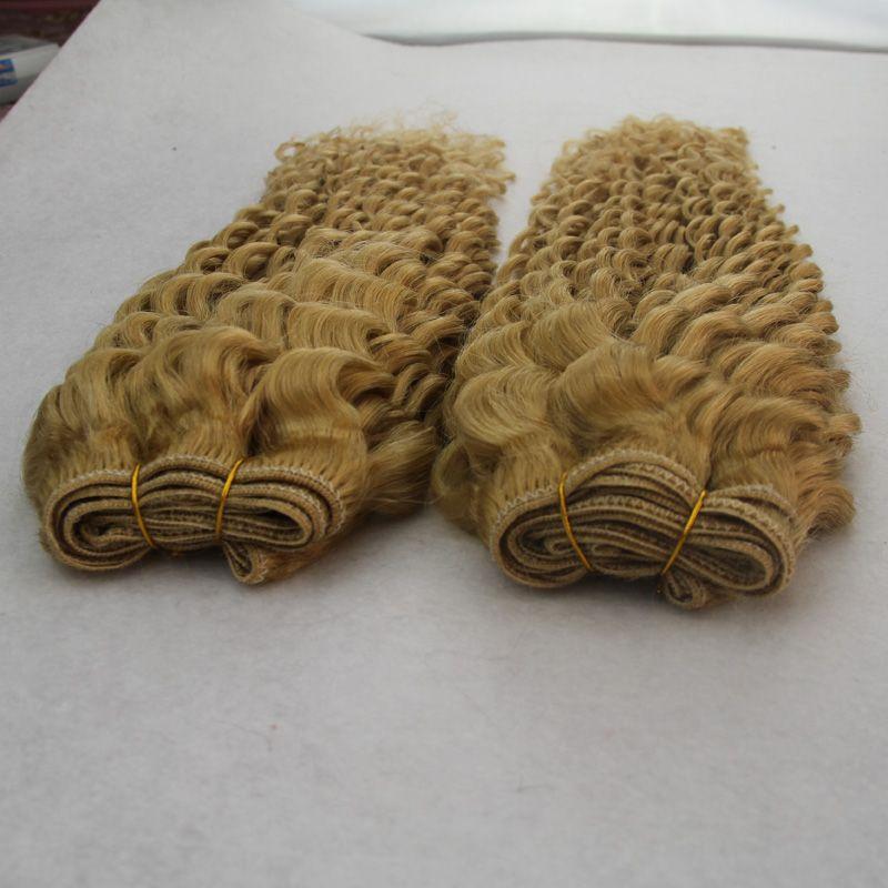2 stücke 200g 8a blonde verworrene Unverarbeitete Brasilianische peruanische indische Jungfrau-menschenhaar Großhandel Nasses Und Wellenförmiges Brasilianische Haarwebart Bundles