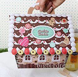 Christmas House Gift Box Candy Paper Bags With Handles Ribbons Cookies Candy Treat Simple Wholesale Large Gift Box 13 17 19cm Free Shipping