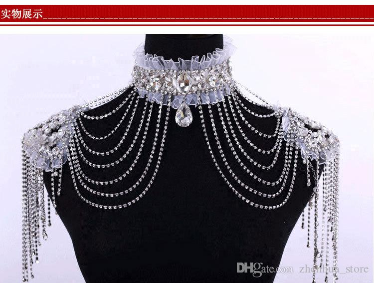 Crew High Neck Real Image Crystal Bridal White Wraps Lace High Neck Beading Wedding Shoulder Chain Noble Jewelry Rhinestones
