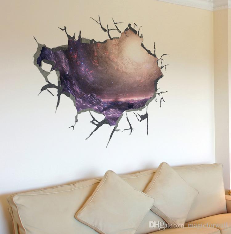 3d متصدع جدار صائق ملصقا غرفة المعيشة السقف جدار ديكور ملصق الفن جدارية شفافة كهف جدار زين جدار المنزل الوشم