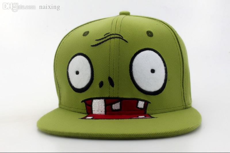 Wholesale-Green Plants Vs Zombies Zombie Big Face Cartoon Snapback Cap 2015  New Arrival Fashion Caps   Hats for Men   Women Free Hat Stock Hat Shoe Hat  ... 39bb91a4f30