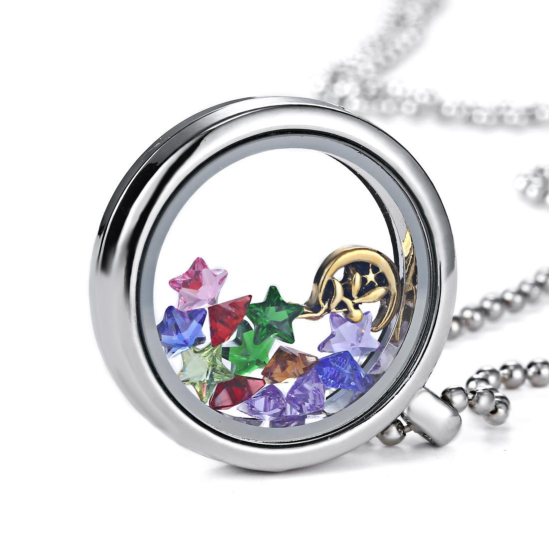 Silver Heart magnetic glass floating charm locket Zinc Alloy chains included for free free ship