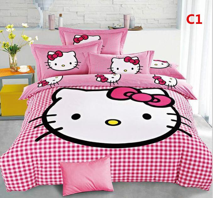Cute 3d Bedding Set Hello Kitty Bedding Hot New Cotton Children Bed Sheets  Twin Single Double Wholesale Dropship Gorgeous Bedding Double Bedding For  Kids. Cute 3d Bedding Set Hello Kitty Bedding Hot New Cotton Children