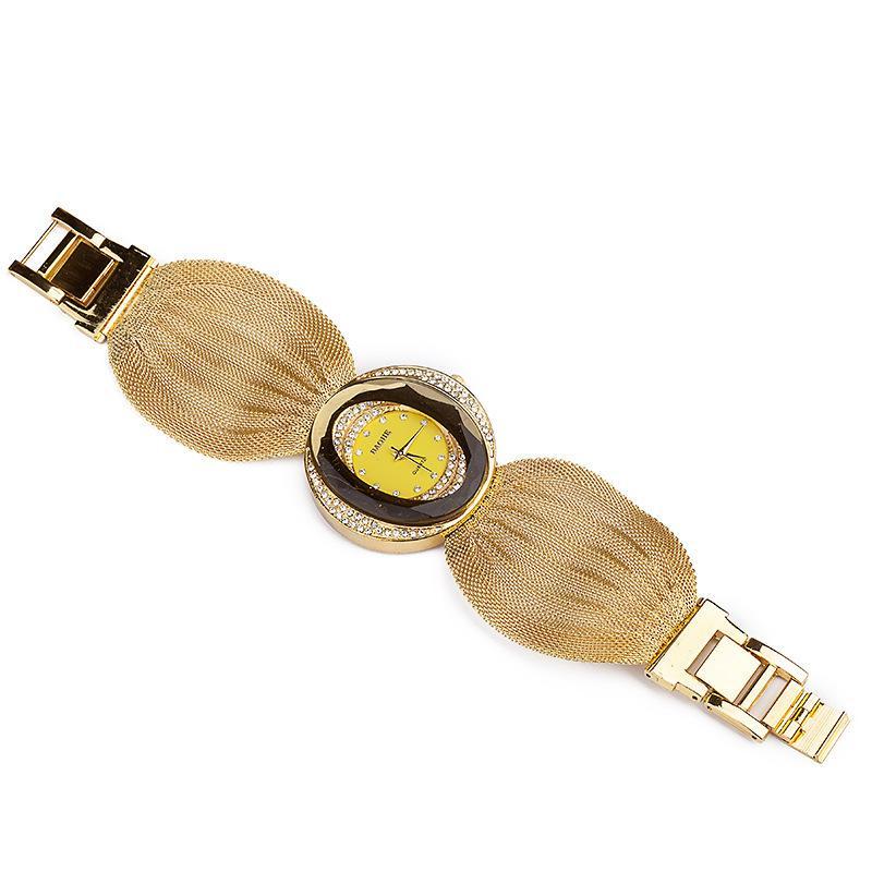 Kadın elbise saatler kuvars İzle Lüks Mesh bilek İzle oval altın bilezik alaşım rhinestone kadın saatler toptan bayan saat