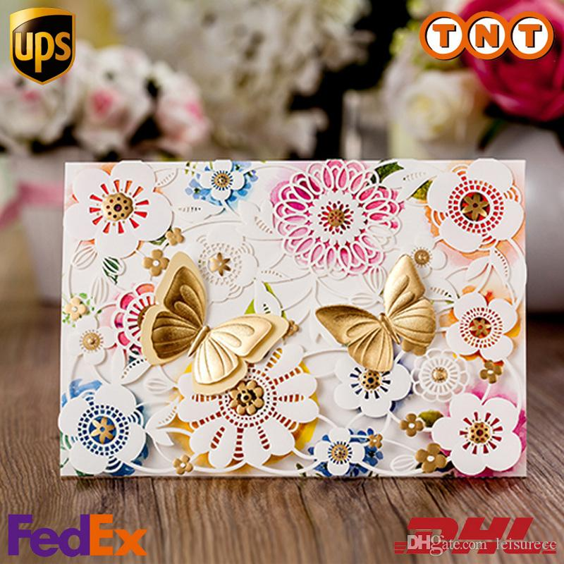 Colours Butterfly Wedding Invitation Elegant Laser Cut Paper Card – Butterfly Wedding Invitation Cards