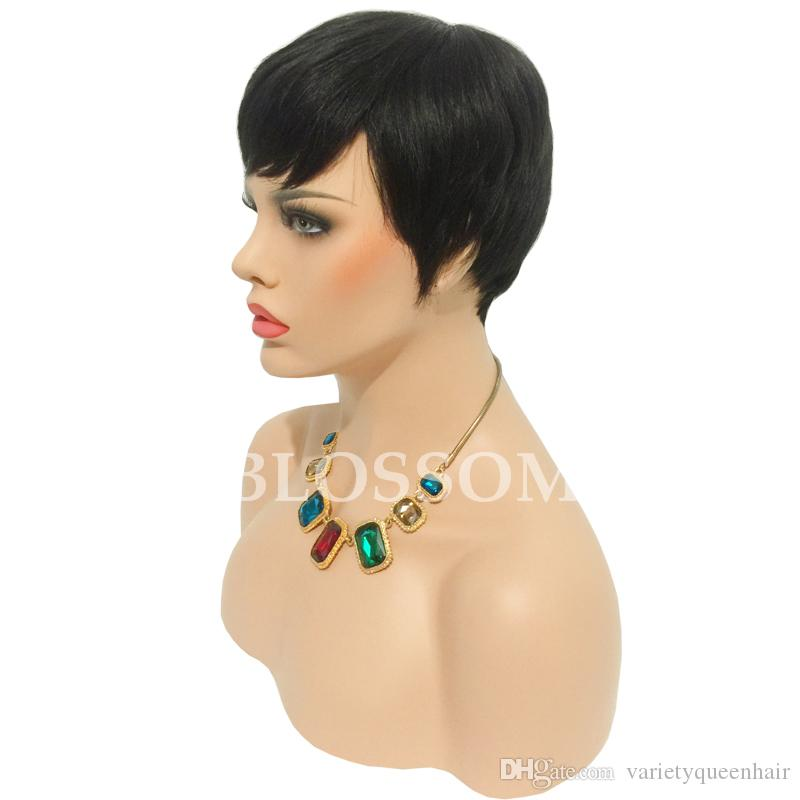Human hair Ladys' Hair Wig Full machine made Wig Capless Rihanna Style New Stylish color Black Short pixie cut Straight Africa American wigs