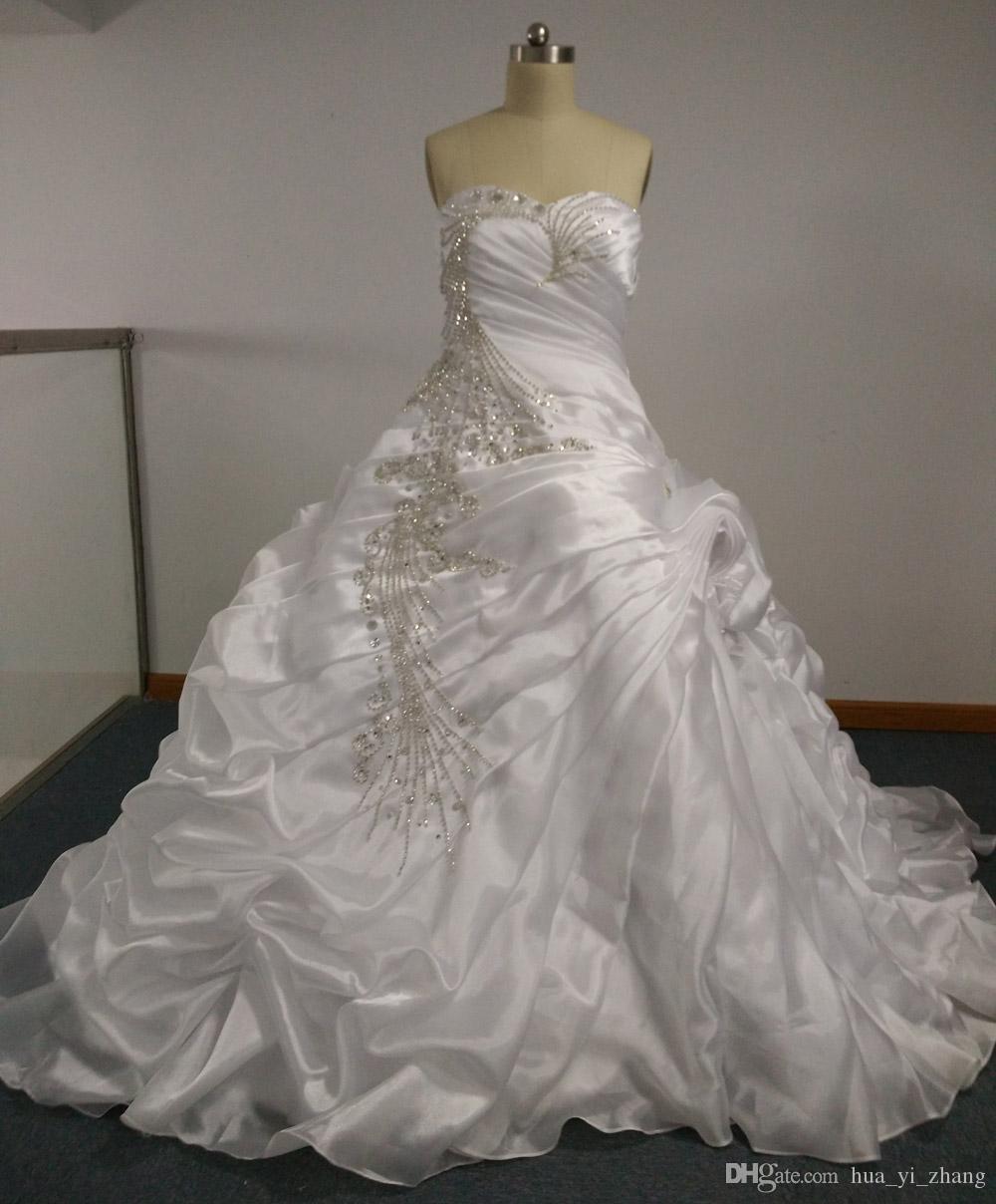 2013 Kristall Brautkleid Heißer Verkauf Luxus Pfau Perlen Stickerei Ballkleid Satin Brasilianische Designer Brautkleider BR01