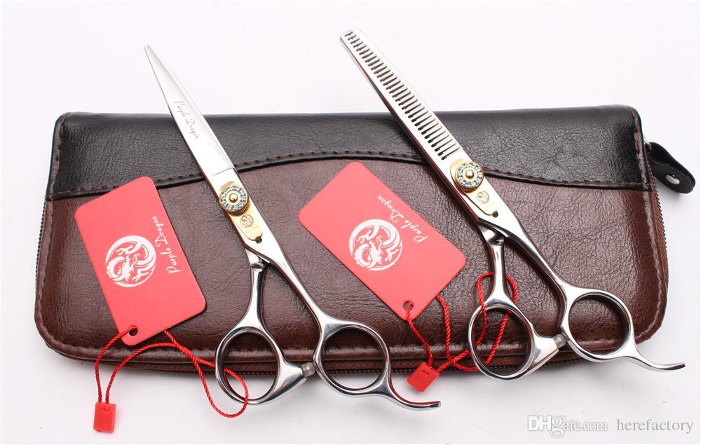 "6"" 17.5cm 440C Purple Dragon Professional Human Hair Scissors Barbers' Hairdressing Scissors Cutting Thinning Shears Salon Style Tools Z1026"