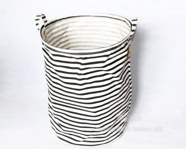 2019 Popular White And Black Stripe Fabric Laundry Basket