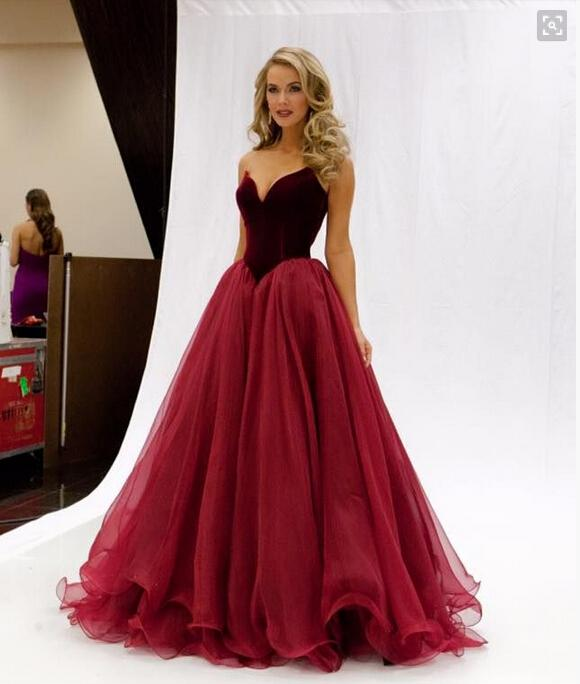 Vintage Dark Red Wine Prom Dresses Organza Sweetheart A Line ...