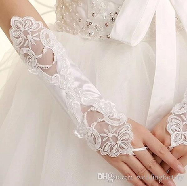 2015 White or Ivory Bridal Gloves Fingerless Short Lace Appliques Wedding Party Gloves Cheap Gloves for Brides with Beads Below Elbow Length