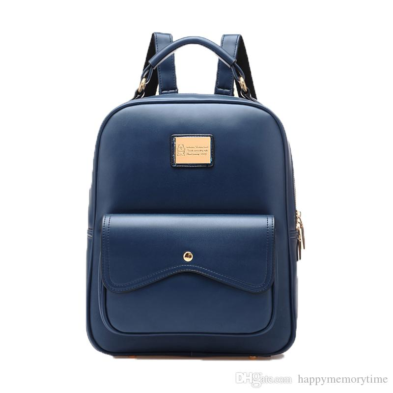 54d9787817 Vintage Pu Leather Women Small Backpack College School Travel .