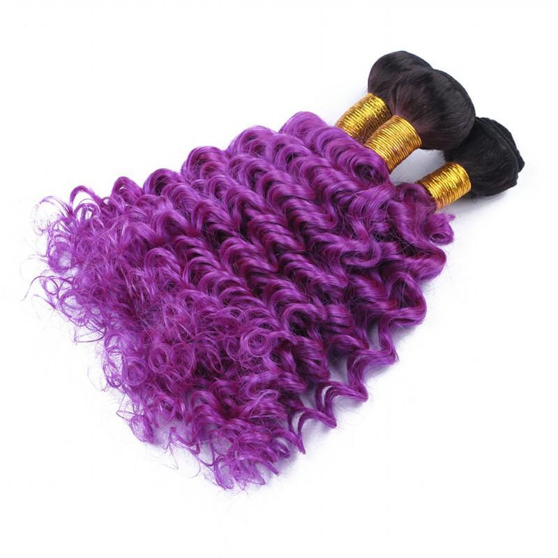 Virgin Peruvian #1B/Purple Ombre Human Hair Weave Bundles Deep Wave Dark Roots Purple Ombre Human Hair Extensions Double Wefts