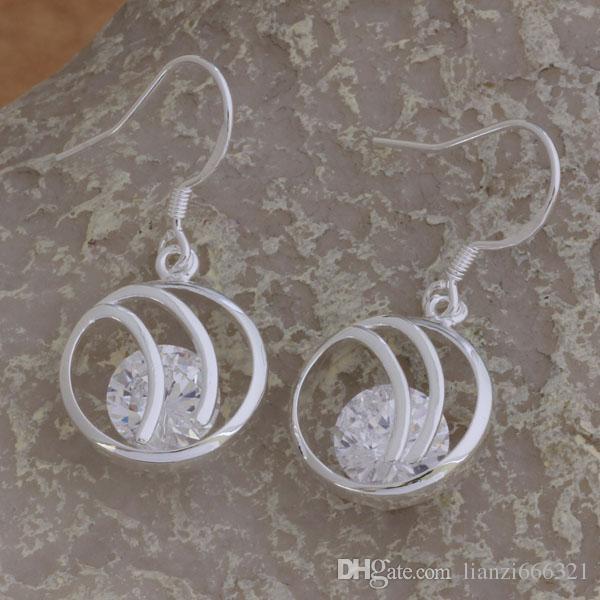 Мода производитель ювелирных изделий 20 шт. Много большой фиолетовый круг Алмаз серьги 925 стерлингового серебра ювелирные изделия заводская цена мода