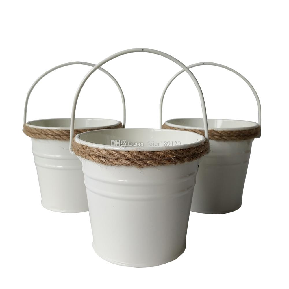 Lovely D10.5*H9.5CM Small Rustic Metal Pail Hemp Rope Garden Bucket Tin Box Iron  Pots White Wedding Buckets Garden Bucket Metal Pail White Planter Online  With ...