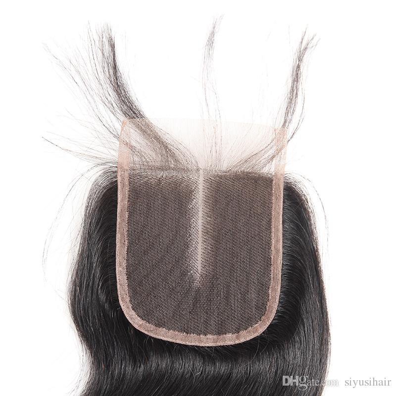 بيرو الماليزية البرازيلي العذراء الإنسان الشعر 4 * 4 الدانتيل إغلاق الجسم موجة مستقيم موجة المياه فضفاض موجة عميقة غريب مجعد الشعر الإغلاق