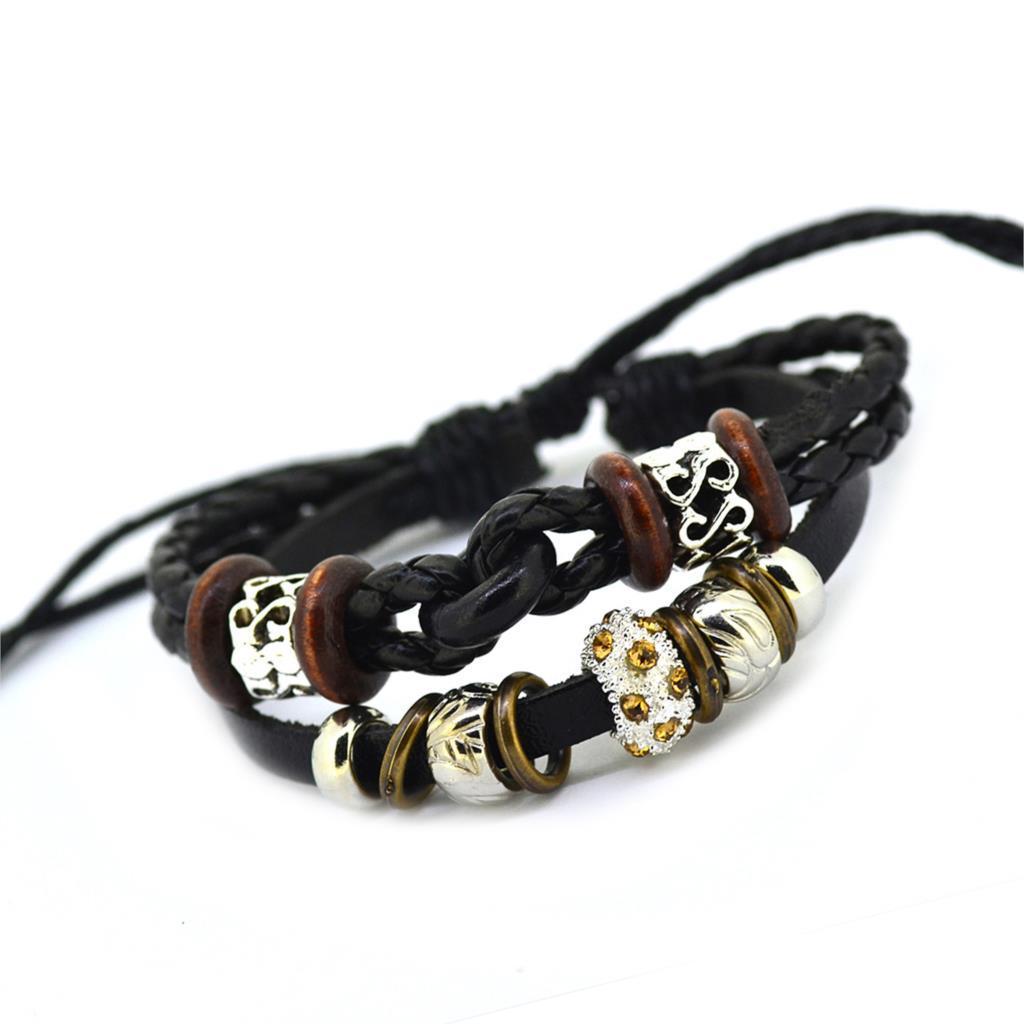 Vintage Retro Handmade Bohemia Wooden Beads Adjustable Leather Bracelet For  Women Men Unisex Jewelry Star Silver Bracelet Bangle