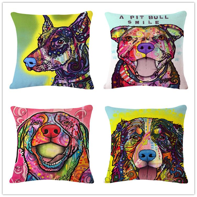 Watercolor Dog Cushion Covers Oil Painting Throw Pillows Covers Pug Beauteous Decorative Pillows Dogs