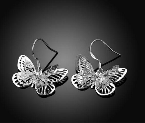 925 Brincos De Prata Esterlina O anjo borboleta espinha de peixe A flor de ameixa de bambu Dangle Brincos Misturar Ordem 20 pares / lote