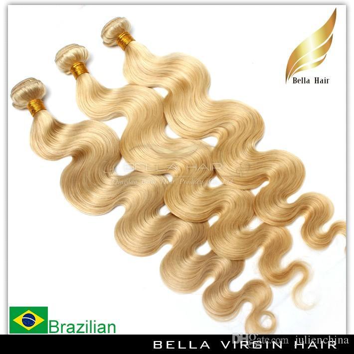 شقراء البرازيلي الحياكة مزدوجة لحمة الجسم موجة الشعر حزم الملونة الإنسان ملحقات الشعر اللون # 613 شحن مجاني بيلا الشعر