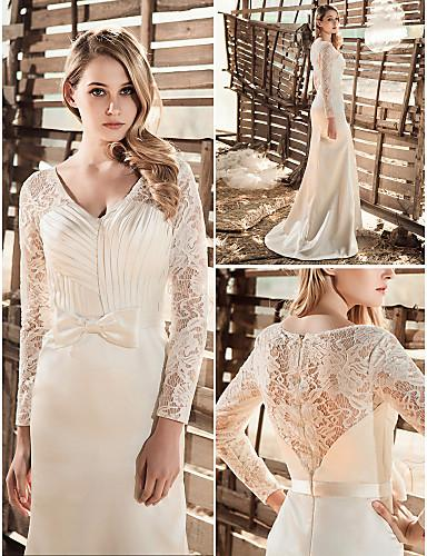 2016 New Fashion Elegant Popular Free Shipping White V-neck Long Sleeve Lace Satin Floor Length Sheath/Column Wedding Dresses 113
