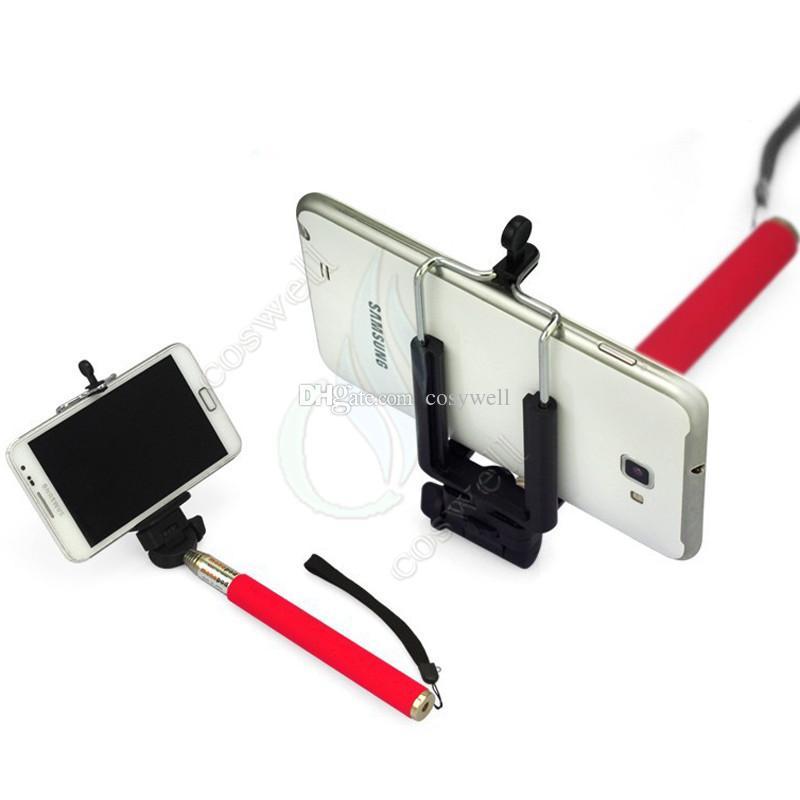 Kit monopiede selfie portatile Supporto monpode Stick + Bluetooth controller otturatore remoto + clip andriod telefono iphone fotocamera DHL