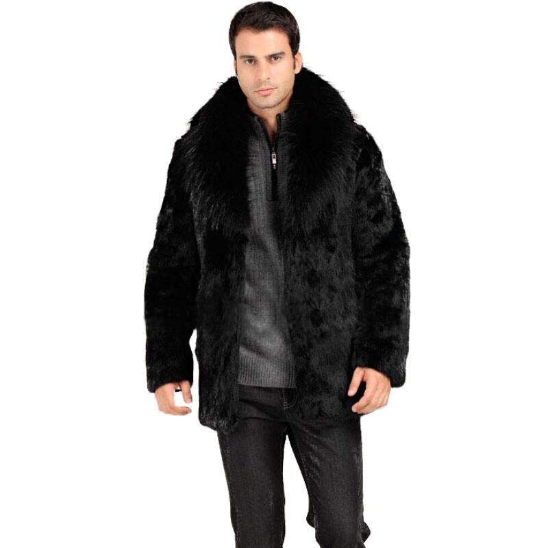 f1058030bd057 Wholesale- Hot sale!Winter men fashion fox fur collar faux rabbit fur coats  Black luxury leather suit parka Upscale casual menswear jackets