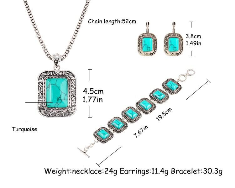 Luxurious Bracelets Earrings Necklaces Fashion Jewelry Necklace+Earrings+Bracelet Vintage Brand Turquoise Jewelry Set For Women Jewellry