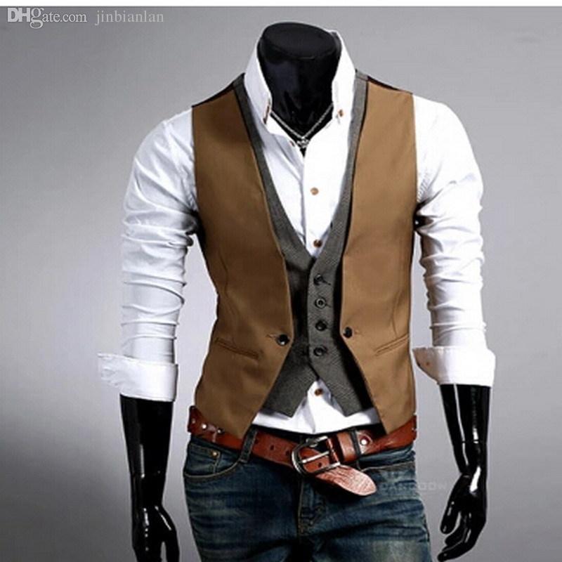 fall 2015 men s clothing fashion faux two piece male vest modern