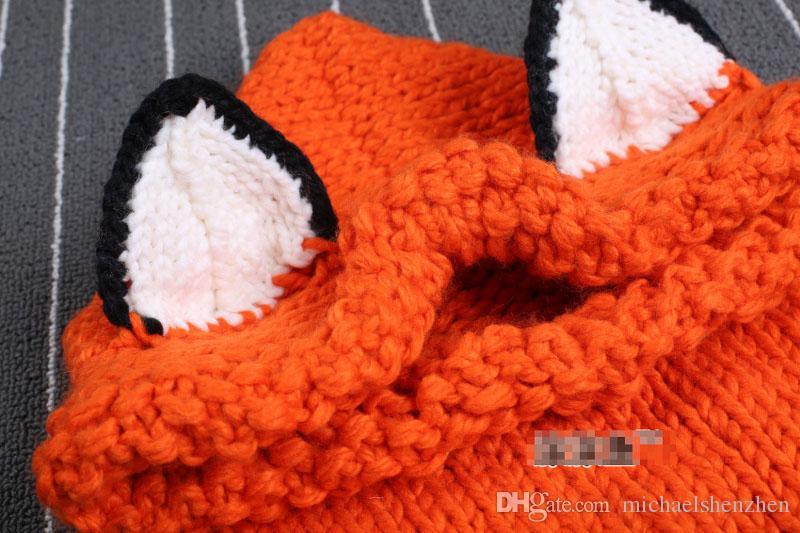 Lovely crochet fox ear winter windproof hats new Fashion scarf set for kids crochet headgear soft warm hat baby winter beanies B001