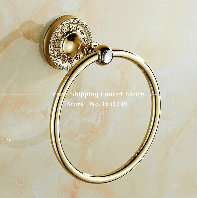 luxury bathroom golden towel holder wall mounted of bathroom towel ring towel hanger ring holder bath furniture g from
