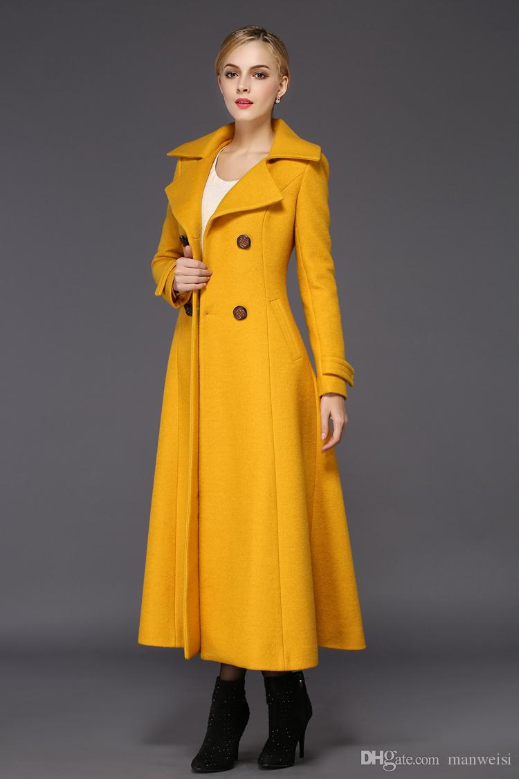 Women Trench Coat 2019 New Winter Woman Yellow Wool Slim Coat Maxi Warm Long Jacket Casual Trench coat Female Cold outwearts