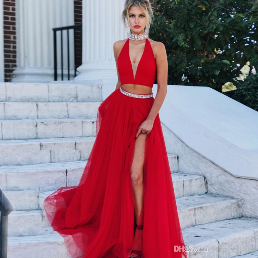 Two Piece Red Tulle Prom Dresses High Neck Sleeveless Crystal Beaded Split  Side Backless Prom Dresses Graduation Dresses Light Blue Prom Dresses Long  Prom ... d8824f0a66d2