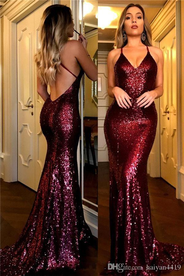 dc3715d8a8 2018 Sexy Luxury Burgundy Mermaid Prom Dresses Spaghetti Straps Sequins  Criss Cross Backless Sweep Train Sheath Evening Gowns Pageant Wear  Discounted Prom ...